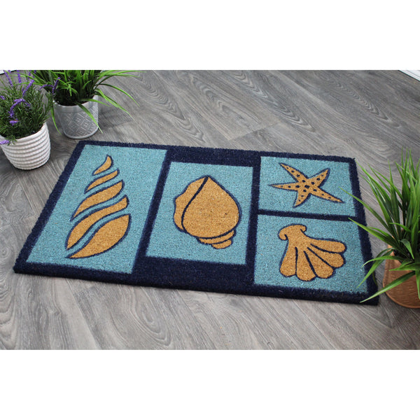 Natural Geo Island Beach Seashells Blue/Sky Natural Coir Door Mat 20 x 31""