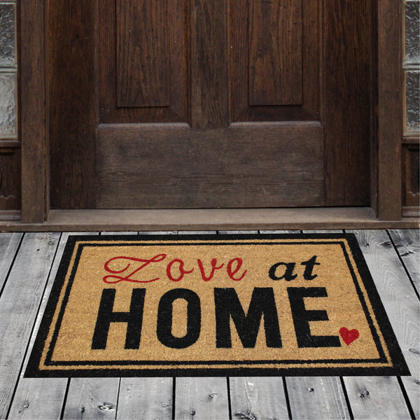 Natural Geo Island Love Home Bordered Black/Red Natural Coir Door Mat 18 x 30""