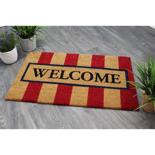 Natural Geo Island Striped Welcome Red/Beige Natural Coir Door Mat 20 x 31""