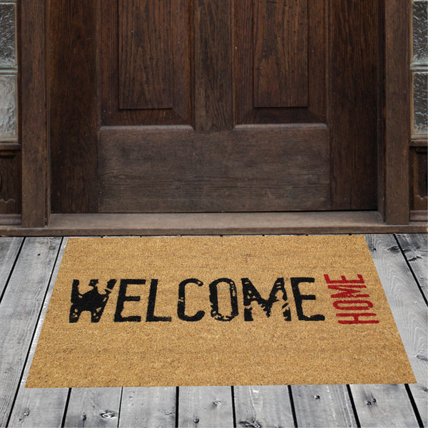 Natural Geo Island Welcome Home Black/Red Natural Coir Door Mat 18 x 30""