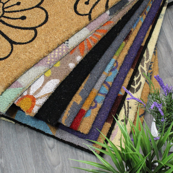 Natural Geo Island Floral Welcome Black/Beige Natural Coir Door Mat 18 x 30""