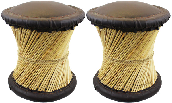 Natural Geo Moray Faux Leather/Reed Decorative Cushioned Accent Stool (Set of 2)