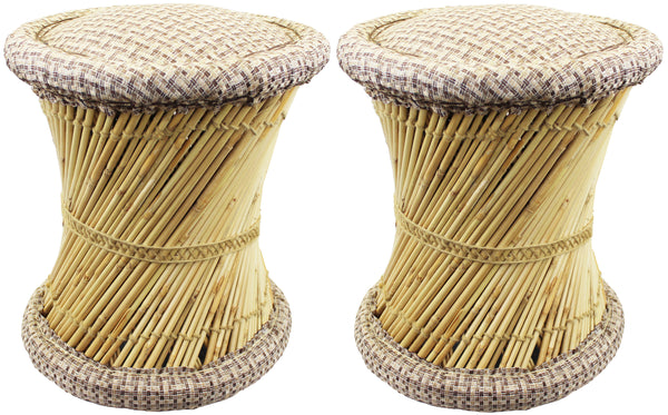 Natural Geo Moray Jute/Reed Decorative Cushioned Accent Stool (Set of 2)