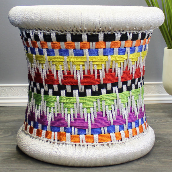Natural Geo Decorative Handwoven Multicolored Accent Stool