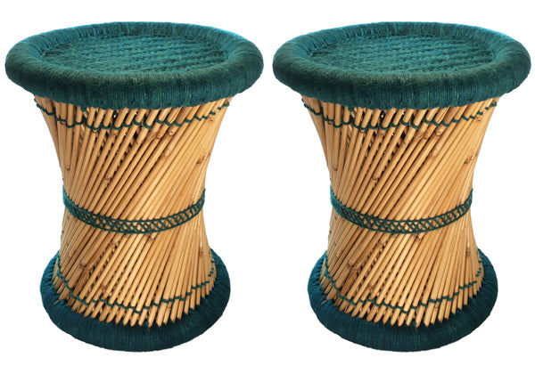 Natural Geo Moray Decorative Accent Stool Cushioned With