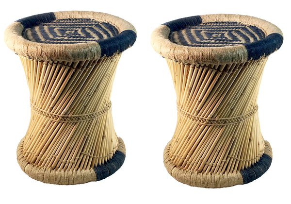 Natural Geo Moray Decorative Accent Stool Cushioned with Jute (Set of 2)