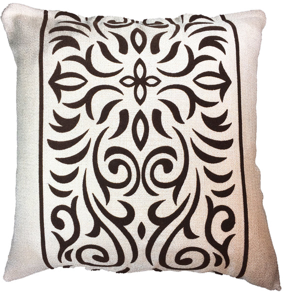 Natural Geo Brown/Beige Abstract Throw Pillow with Flipped Accents