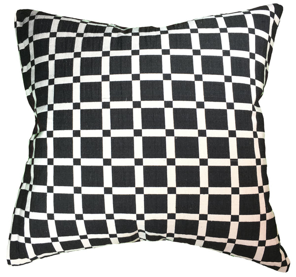 Natural Geo Geometric Black & White Checkerboard Cotton Throw Pillow