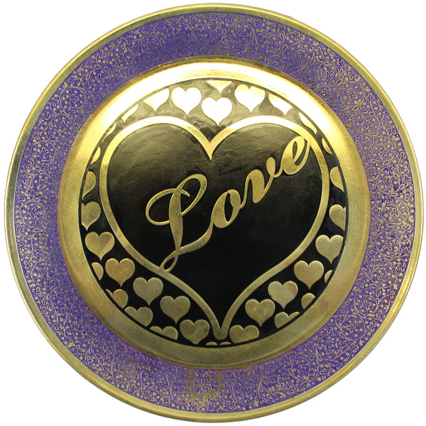 Natural Geo Loving Heart Decorative Wall Hanging Brass Accent Plate