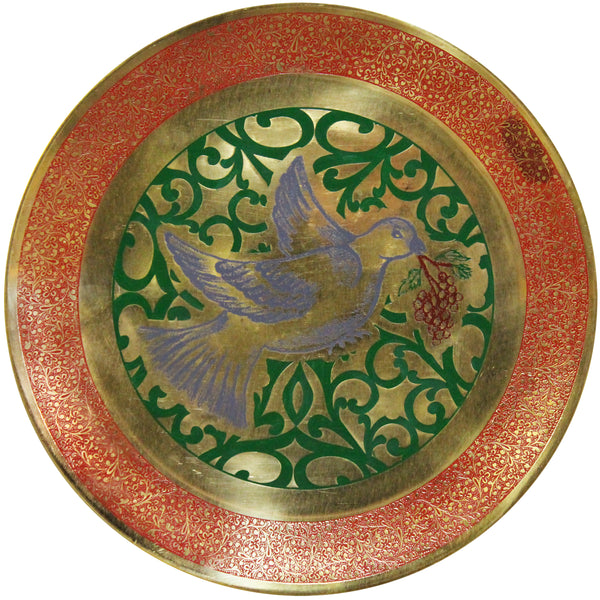 Natural Geo Blue Dove Decorative Brass Accent Plate