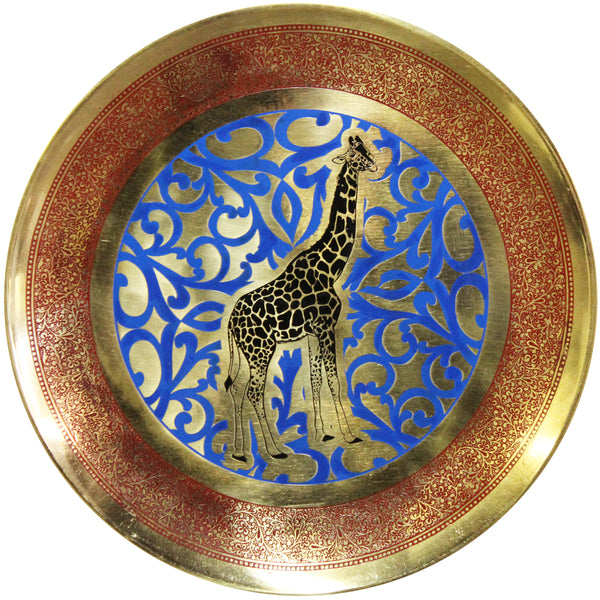 Natural Geo Giraffe Decorative Brass Accent Plate