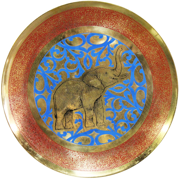 Natural Geo Happy Elephant Decorative Brass Accent Plate