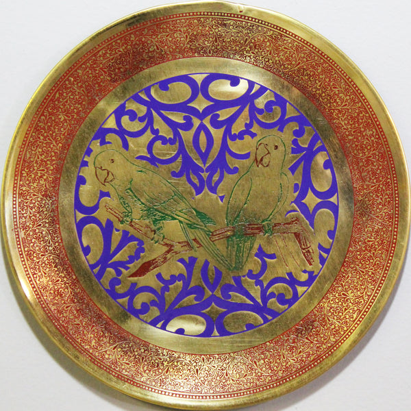 Natural Geo Relaxed Parrots Decorative Brass Accent Plate