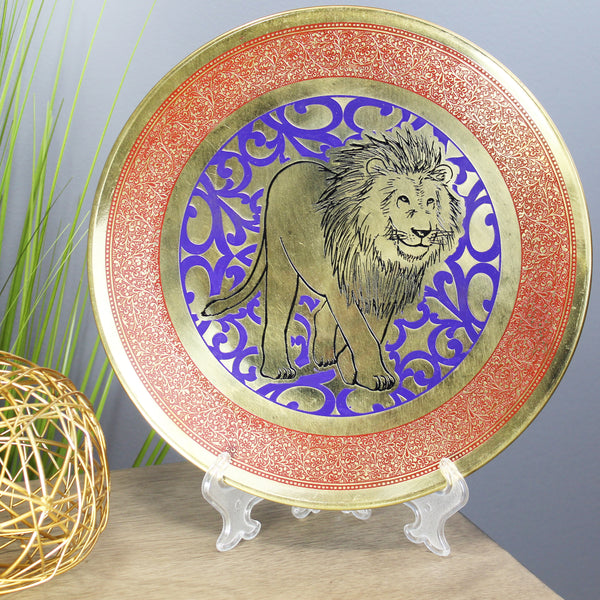Natural Geo Strolling Lion Decorative Brass Accent Plate
