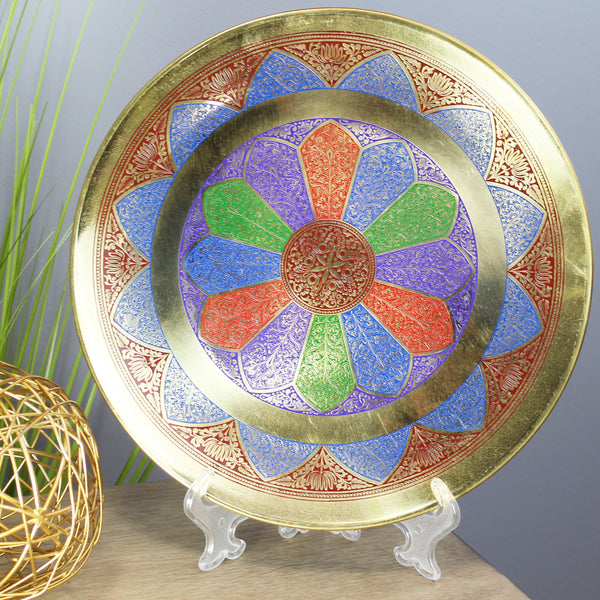 Natural Geo Abstract Multicolored Decorative Brass Accent Plate