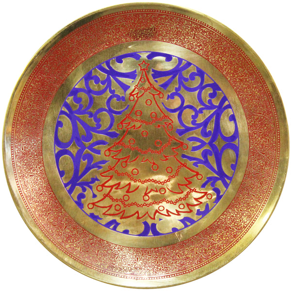 Natural Geo Red Christmas Tree Decorative Brass Accent Plate