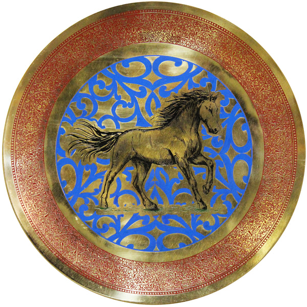Natural Geo Horse Running Decorative Brass Accent Plate