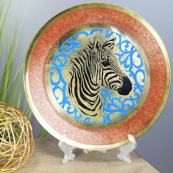 Natural Geo Zebra Decorative Brass Accent Plate