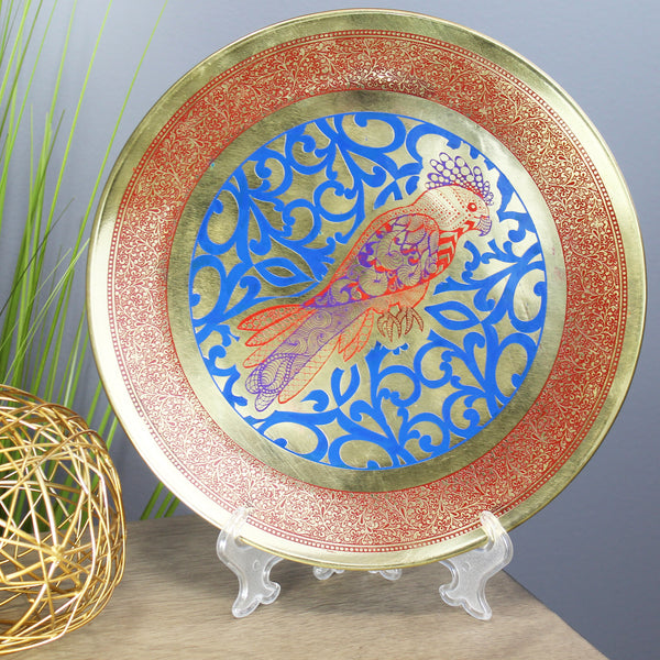 Natural Geo Abstract Parrot Decorative Brass Accent Plate