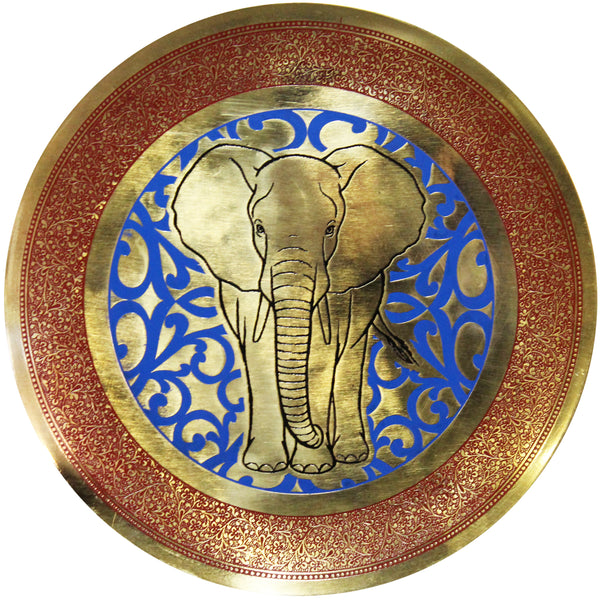 Natural Geo Staring Elephant Decorative Brass Accent Plate