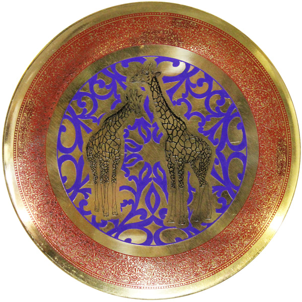 Natural Geo Tall Giraffes Decorative Brass Accent Plate