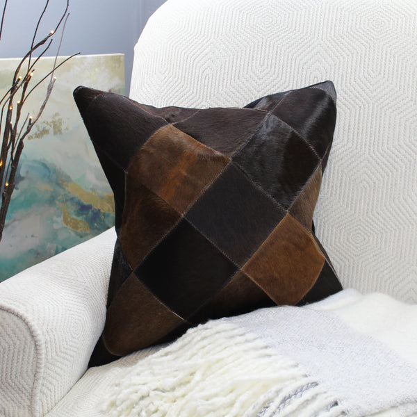 Natural Geo Black/Brown Geometric Diamond Throw Pillow