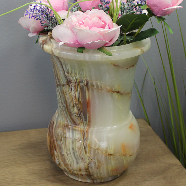 "Natural Geo Multicolored Decorative Handcrafted 10"" Onyx Flower Pot"