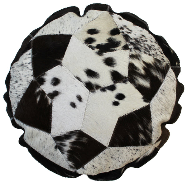 Natural Geo Herd Cowhide Black/Brown/White Round Decorative Throw Pillow
