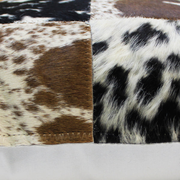 Natural Geo Herd Cowhide Black/Brown/White Square Decorative Throw Pillow