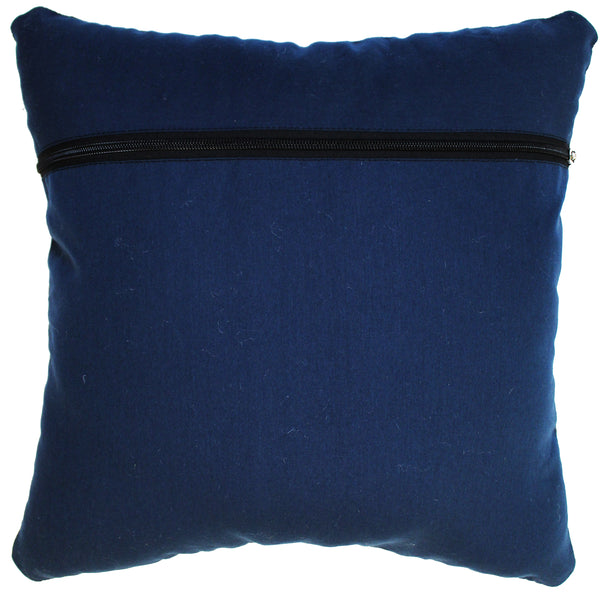 Natural Geo Voguish Leather Black/Blue Square Decorative Throw Pillow