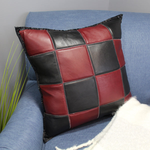 Natural Geo Maroon/Black Voguish Leather Geometric Pillow