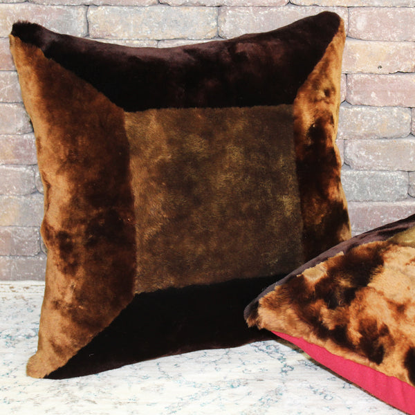 Natural Geo Flocculent Sheepskin Dark Brown Square Decorative Throw Pillow