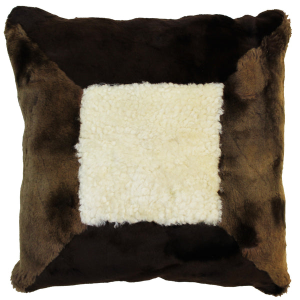 Natural Geo Flocculent Sheepskin White/Brown Square Decorative Throw Pillow