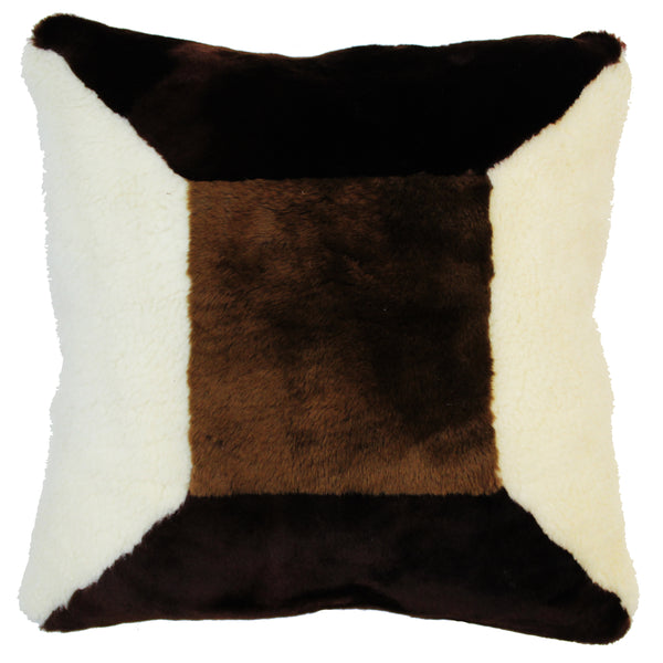 Natural Geo Flocculent Sheepskin White/Dark Brown Square Decorative Throw Pillow