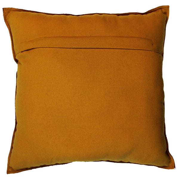 Natural Geo Prolific Leather Suede Yellow/Brown Square Decorative Throw Pillow