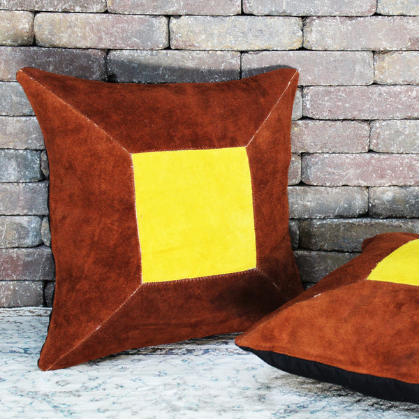 Natural Geo Prolific Leather Suede Brown/Yellow Square Decorative Throw Pillow
