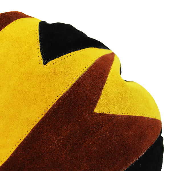 Natural Geo Prolific Leather Suede Yellow/Brown/Black Round Decorative Throw Pillow