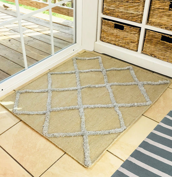 Natural Geo Boston Beige Area Rug with Padding
