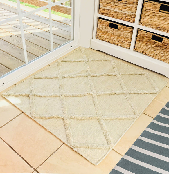 Natural Geo Boston Cream Area Rug with Pad