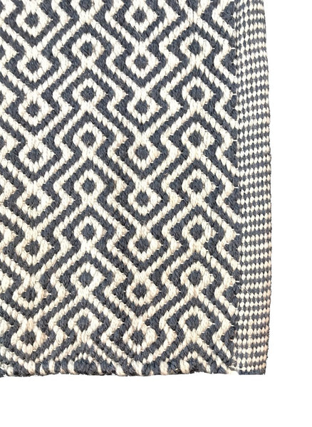 Natural Geo Cody Dark Blue Area Rug with Padding