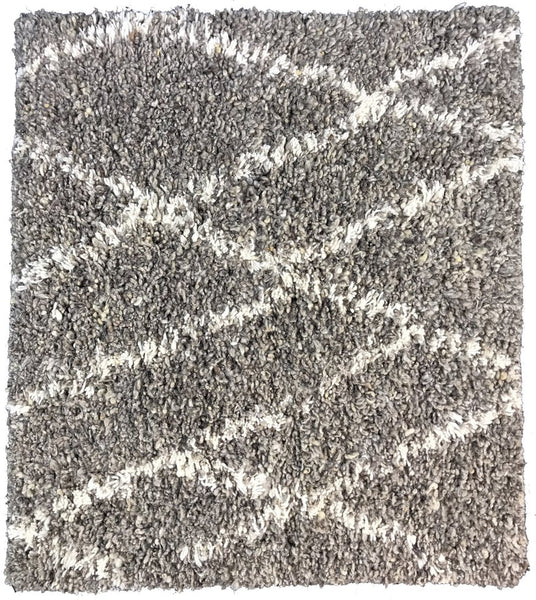 Natural Geo Fuzzy Dirty Gray Area Rug with Padding
