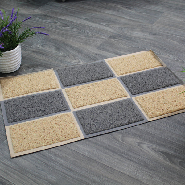 Natural Geo Sponge Rubber Geometric Kitchen Mat 18 x 29""