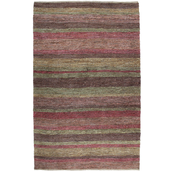 Natural Geo Spontaneous Jute Handwoven Maroon/Orange Striped Area Rug
