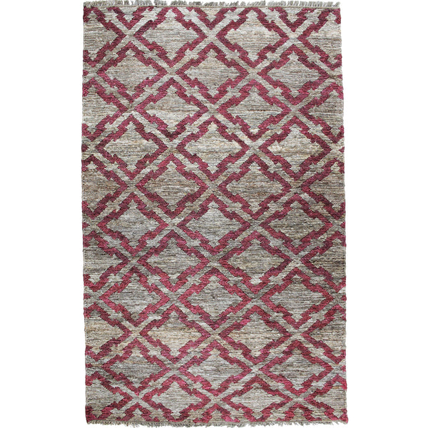 Natural Geo Spontaneous Jute Handwoven Geometric Natural/Maroon Area Rug