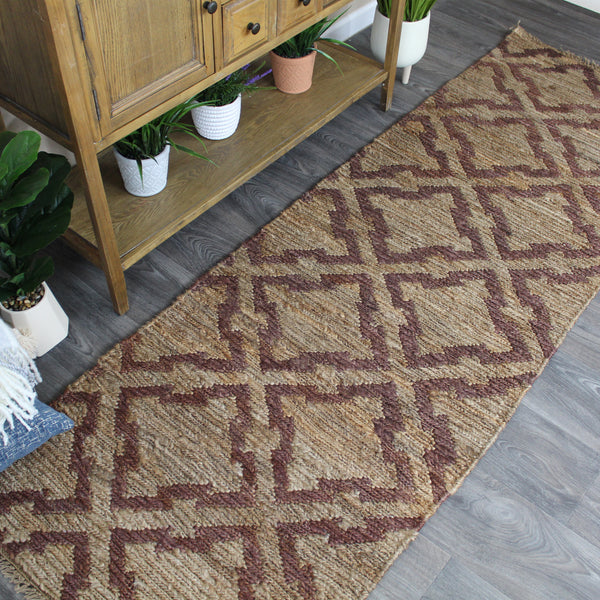 Natural Geo Spontaneous Jute Handwoven Geometric Natural/Brown Area Rug