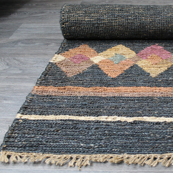 Natural Geo Spontaneous Jute Handwoven Charcoal/Multi Abstract Area Rug