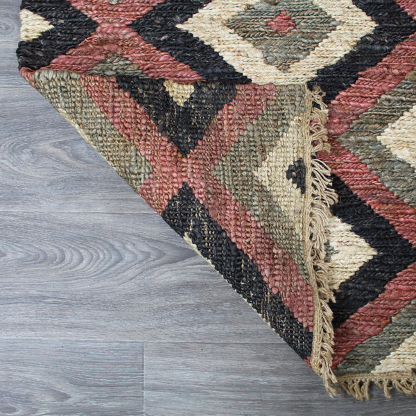 Natural Geo Spontaneous Jute Handwoven Black/Maroon/Green Geometric Area Rug