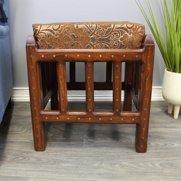 Natural Geo Decorative Brown/Gold Rosewood Cushioned Accent Stool