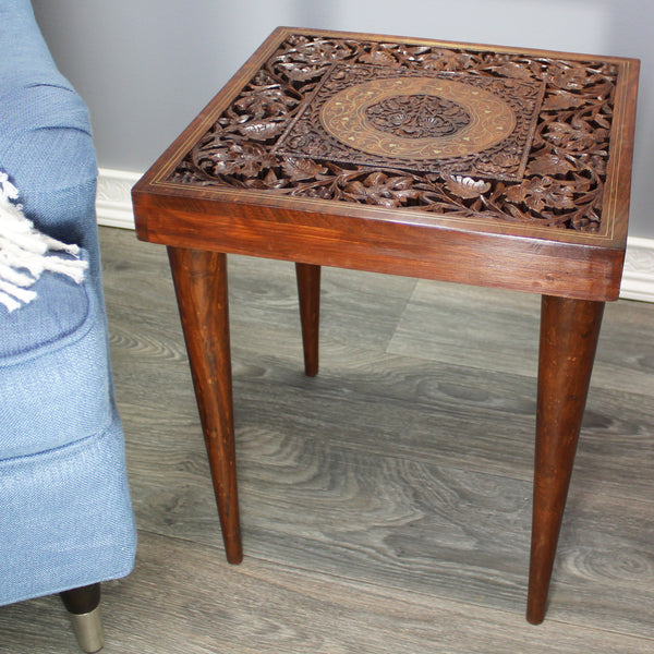 Natural Geo Handcarved Square Rosewood Decorative Accent Table