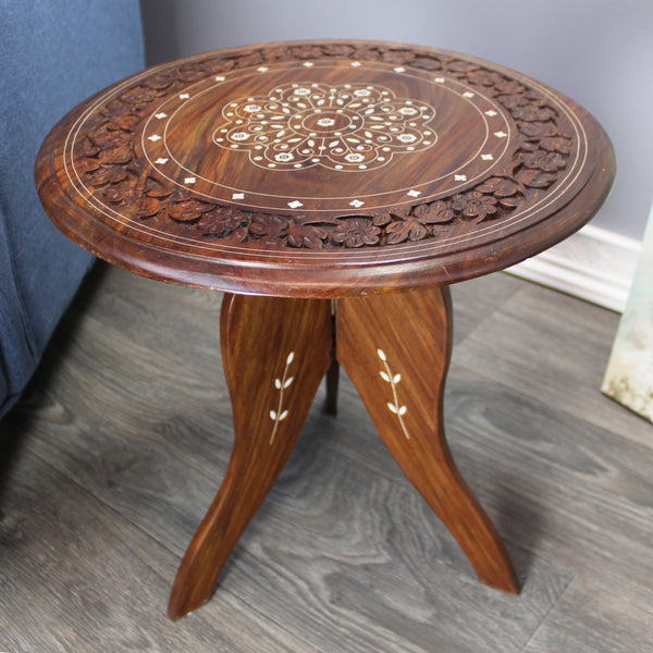 Natural Geo Handcarved Round Rosewood Decorative Accent Table